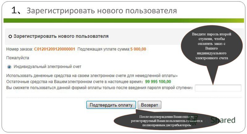 Введите пароль второй ступени, чтобы оплатить заказ с Вашего индивидуального электронного счета После подтверждения Вами оплаты, регистрируемый Вами пользователь становится полноправным дистрибьютором 1 Зарегистрировать нового пользователя