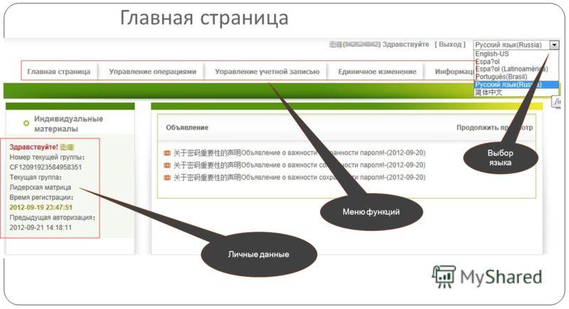 Главная страница Выбор языка Меню функций Личные данные