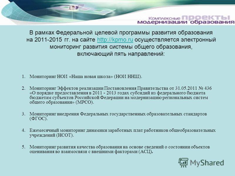 В рамках Федеральной целевой программы развития образования на 2011-2015 гг. на сайте http://kpmo.ru осуществляется электронный мониторинг развития системы общего образования, включающий пять направлений:http://kpmo.ru 1.Мониторинг НОИ «Наша новая шк