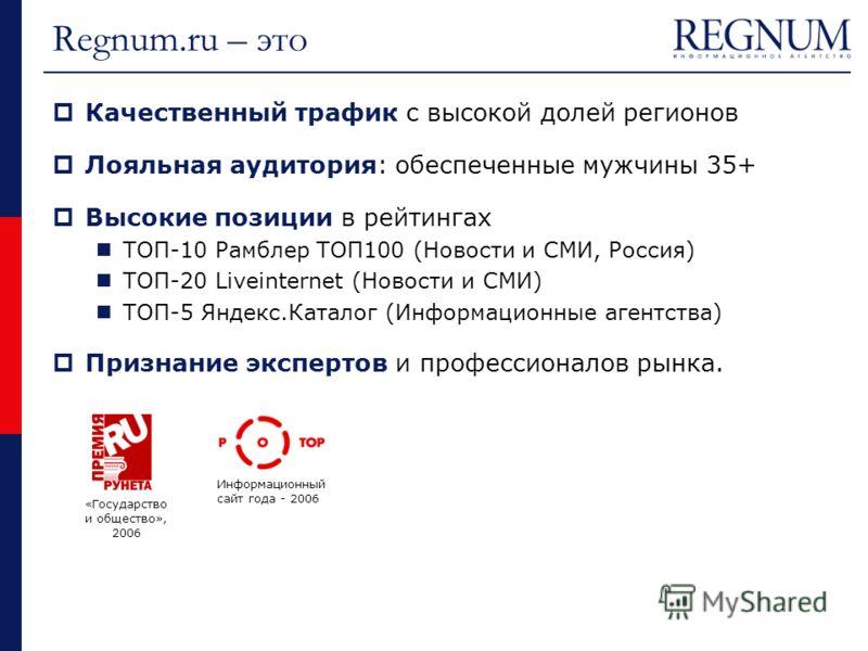 Regnum.ru – это Качественный трафик с высокой долей регионов Лояльная аудитория: обеспеченные мужчины 35+ Высокие позиции в рейтингах ТОП-10 Рамблер ТОП100 (Новости и СМИ, Россия) ТОП-20 Liveinternet (Новости и СМИ) ТОП-5 Яндекс.Каталог (Информационн