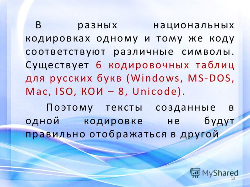 В разных национальных кодировках одному и тому же коду соответствуют различные символы. Существует 6 кодировочных таблиц для русских букв (Windows, MS-DOS, Mac, ISO, КОИ – 8, Unicode). Поэтому тексты созданные в одной кодировке не будут правильно ото