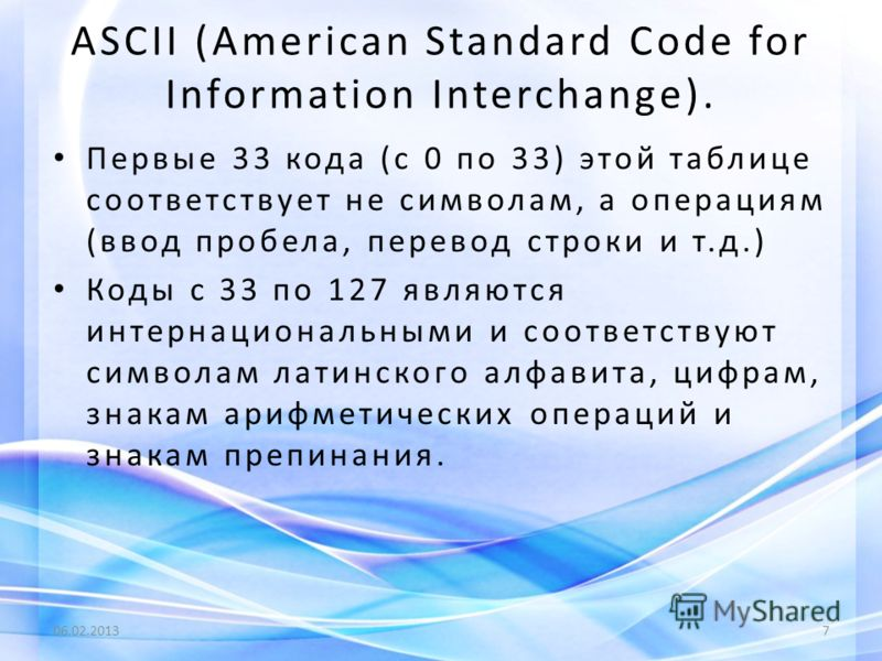 ASCII (American Standard Code for Information Interchange). Первые 33 кода (с 0 по 33) этой таблице соответствует не символам, а операциям (ввод пробела, перевод строки и т.д.) Коды с 33 по 127 являются интернациональными и соответствуют символам лат