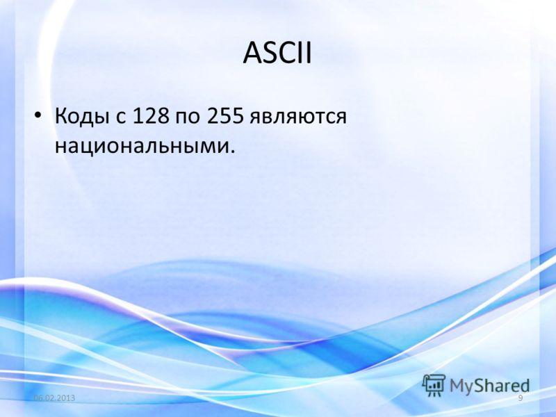 Коды с 128 по 255 являются национальными. 06.02.20139