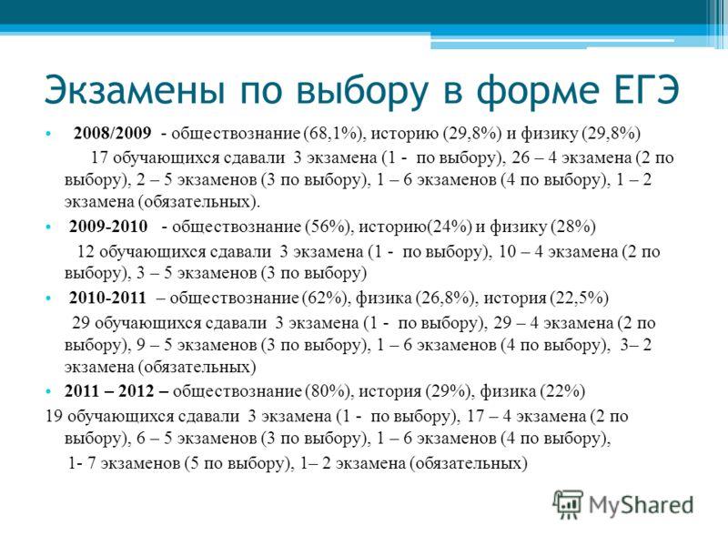 Экзамены по выбору в форме ЕГЭ 2008/2009 - обществознание (68,1%), историю (29,8%) и физику (29,8%) 17 обучающихся сдавали 3 экзамена (1 - по выбору), 26 – 4 экзамена (2 по выбору), 2 – 5 экзаменов (3 по выбору), 1 – 6 экзаменов (4 по выбору), 1 – 2