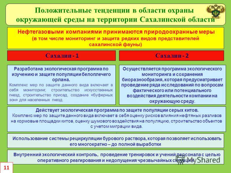 Положительные тенденции в области охраны окружающей среды на территории Сахалинской области Нефтегазовыми компаниями принимаются природоохранные меры (в том числе мониторинг и защита редких видов представителей сахалинской фауны) Сахалин - 2 Разработ