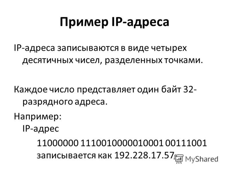 Пример IP-адреса IР-адреса записываются в виде четырех десятичных чисел, разделенных точками. Каждое число представляет один байт 32- разрядного адреса. Например: IР-адрес 11000000 1110010000010001 00111001 записывается как 192.228.17.57