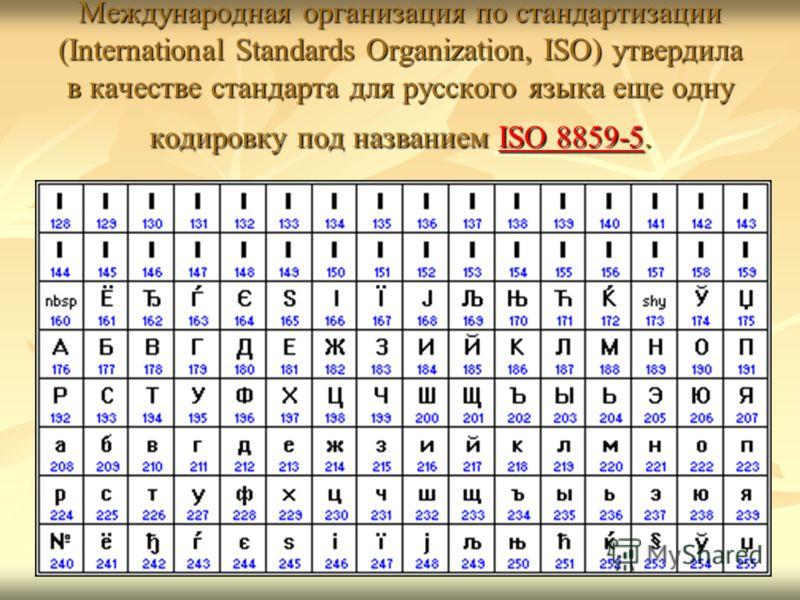 Международная организация по стандартизации (International Standards Organization, ISO) утвердила в качестве стандарта для русского языка еще одну кодировку под названием ISO 8859-5. ISO 8859-5ISO 8859-5