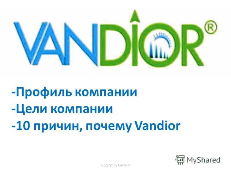 Copiryt by Certain -Профиль компании -Цели компании -10 причин, почему Vandior