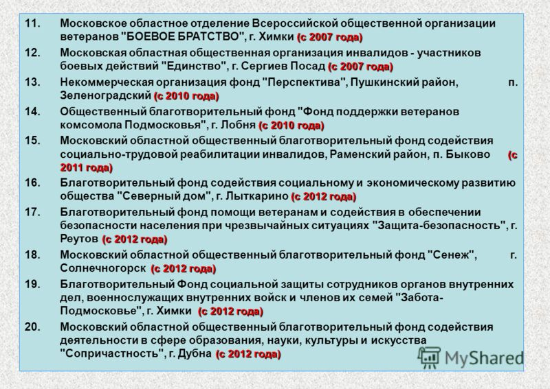 7 (с 2007 года) 11.Московское областное отделение Всероссийской общественной организации ветеранов