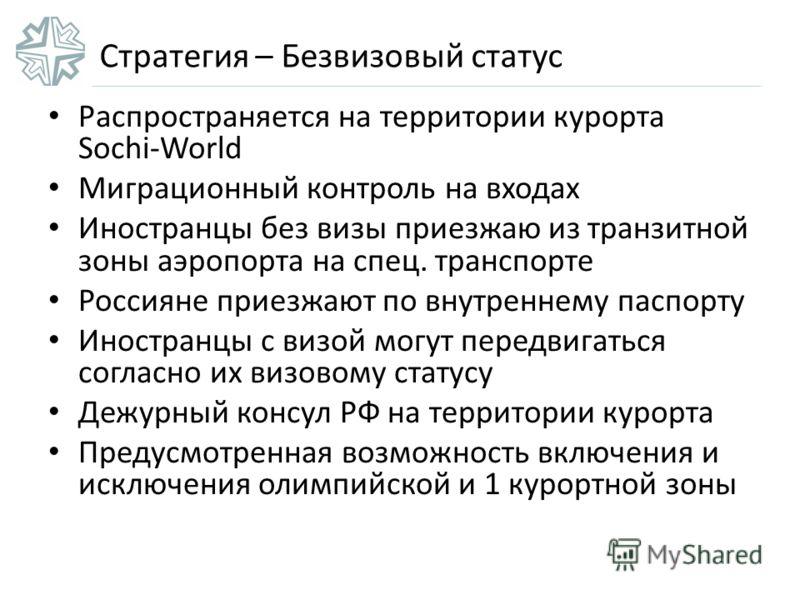 Стратегия – Безвизовый статус Распространяется на территории курорта Sochi-World Миграционный контроль на входах Иностранцы без визы приезжаю из транзитной зоны аэропорта на спец. транспорте Россияне приезжают по внутреннему паспорту Иностранцы с виз
