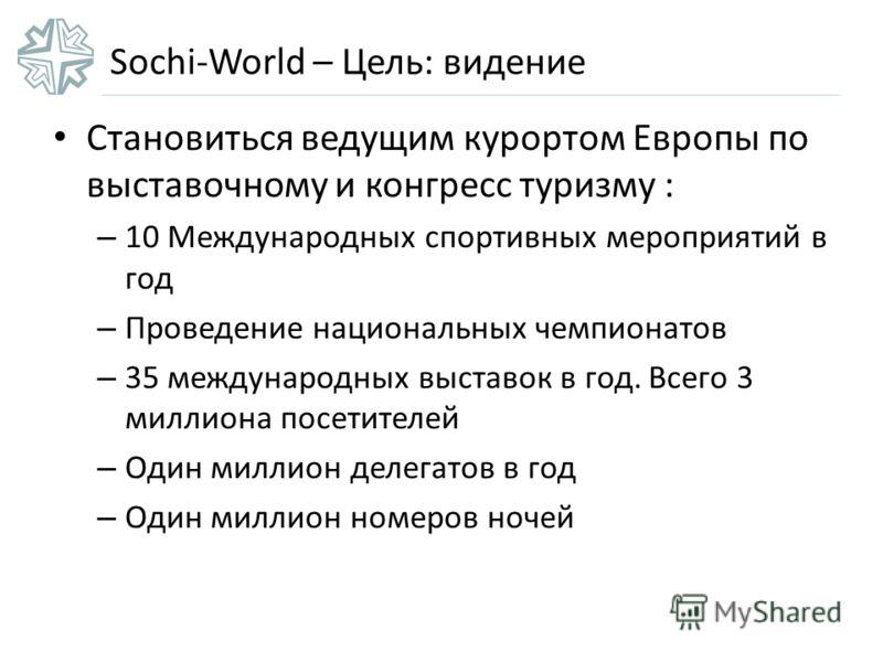 Sochi-World – Цель: видение Становиться ведущим курортом Европы по выставочному и конгресс туризму : – 10 Международных спортивных мероприятий в год – Проведение национальных чемпионатов – 35 международных выставок в год. Всего 3 миллиона посетителей