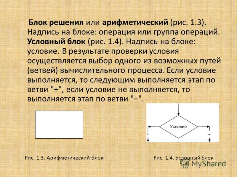 Блок решения или арифметический (рис. 1.3). Надпись на блоке: операция или группа операций. Условный блок (рис. 1.4). Надпись на блоке: условие. В результате проверки условия осуществляется выбор одного из возможных путей (ветвей) вычислительного про