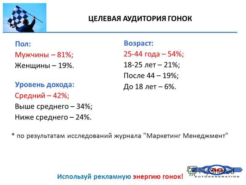 Используй рекламную энергию гонок! ЦЕЛЕВАЯ АУДИТОРИЯ ГОНОК Пол: Мужчины – 81%; Женщины – 19%. Уровень дохода: Средний – 42%; Выше среднего – 34%; Ниже среднего – 24%. Возраст: 25-44 года – 54%; 18-25 лет – 21%; После 44 – 19%; До 18 лет – 6%. * по ре