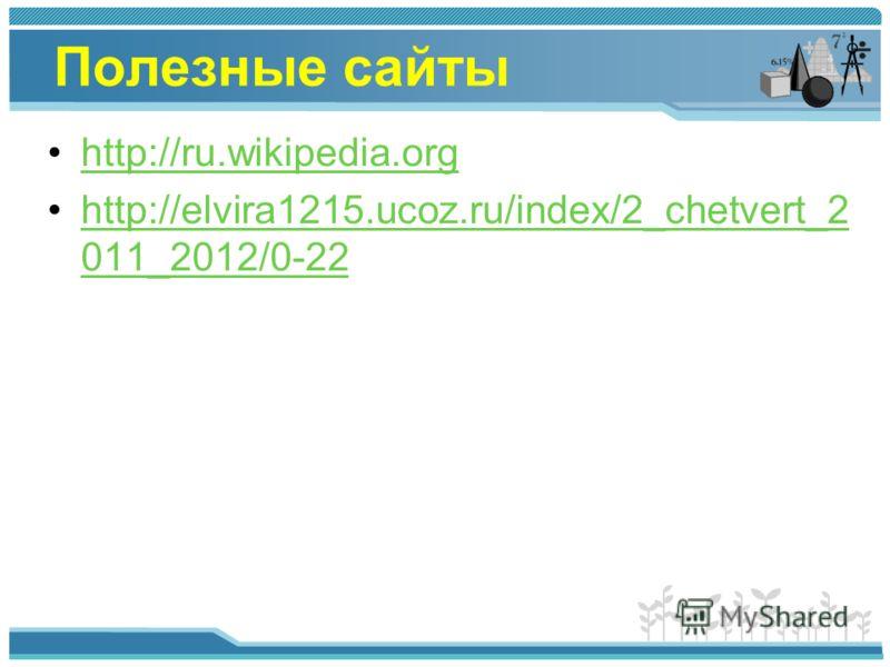 Полезные сайты http://ru.wikipedia.org http://elvira1215.ucoz.ru/index/2_chetvert_2 011_2012/0-22http://elvira1215.ucoz.ru/index/2_chetvert_2 011_2012/0-22