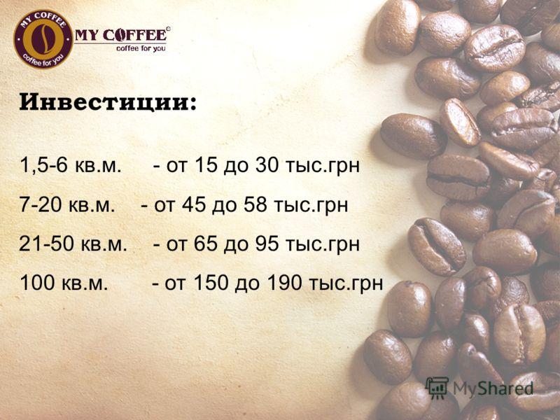Инвестиции: 1,5-6 кв.м. - от 15 до 30 тыс.грн 7-20 кв.м. - от 45 до 58 тыс.грн 21-50 кв.м. - от 65 до 95 тыс.грн 100 кв.м. - от 150 до 190 тыс.грн