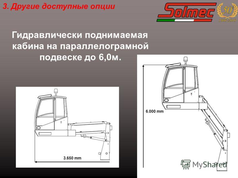 Гидравлически поднимаемая кабина на параллелограмной подвеске до 6,0м. 6.000 mm 3.650 mm 3. Другие доступные опции