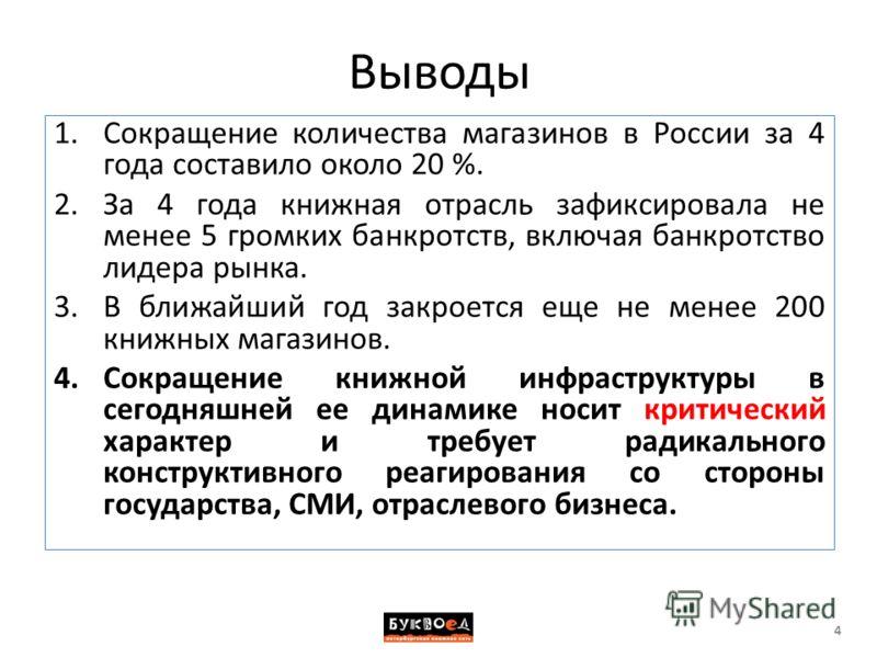 Выводы 1.Сокращение количества магазинов в России за 4 года составило около 20 %. 2.За 4 года книжная отрасль зафиксировала не менее 5 громких банкротств, включая банкротство лидера рынка. 3.В ближайший год закроется еще не менее 200 книжных магазино