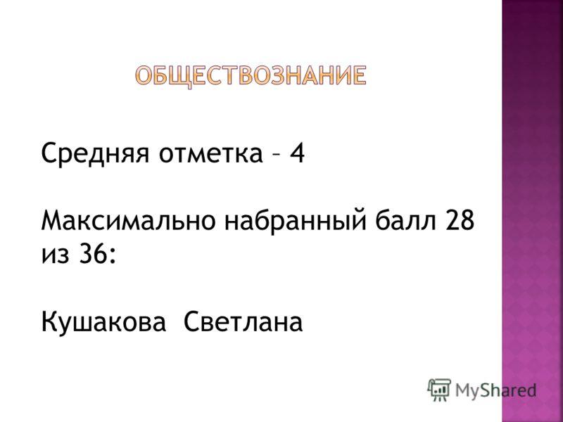 Средняя отметка – 4 Максимально набранный балл 28 из 36: Кушакова Светлана