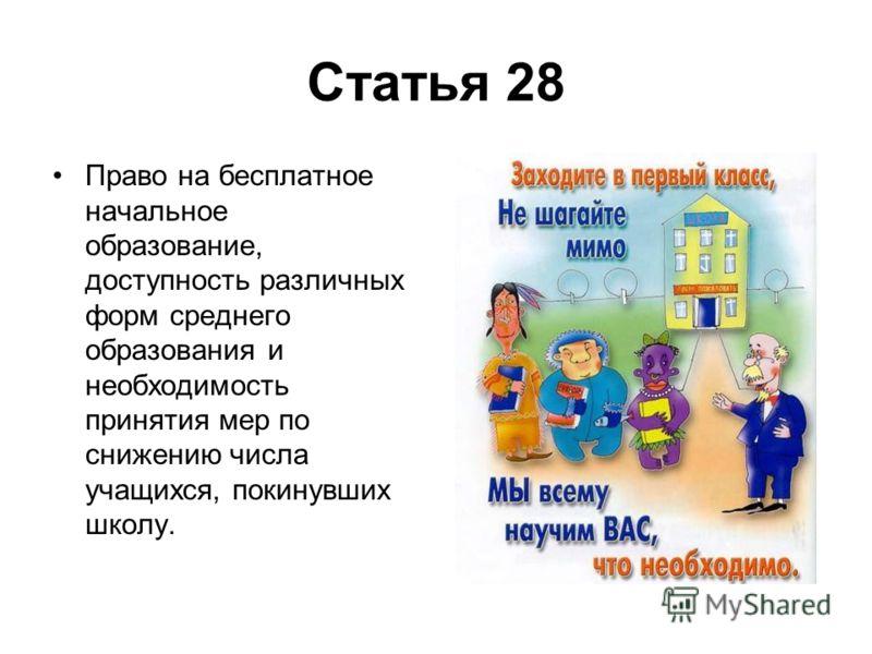 Статья 28 Право на бесплатное начальное образование, доступность различных форм среднего образования и необходимость принятия мер по снижению числа учащихся, покинувших школу.