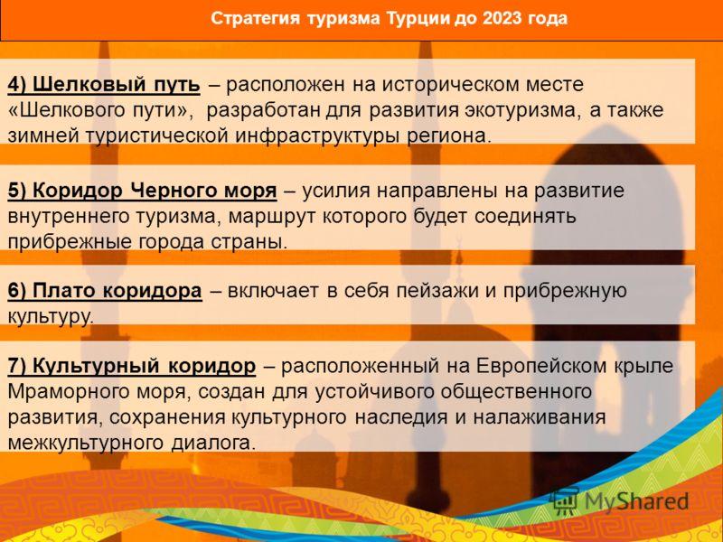 Стратегия туризма Турции до 2023 года 4) Шелковый путь – расположен на историческом месте «Шелкового пути», разработан для развития экотуризма, а также зимней туристической инфраструктуры региона. 5) Коридор Черного моря – усилия направлены на развит