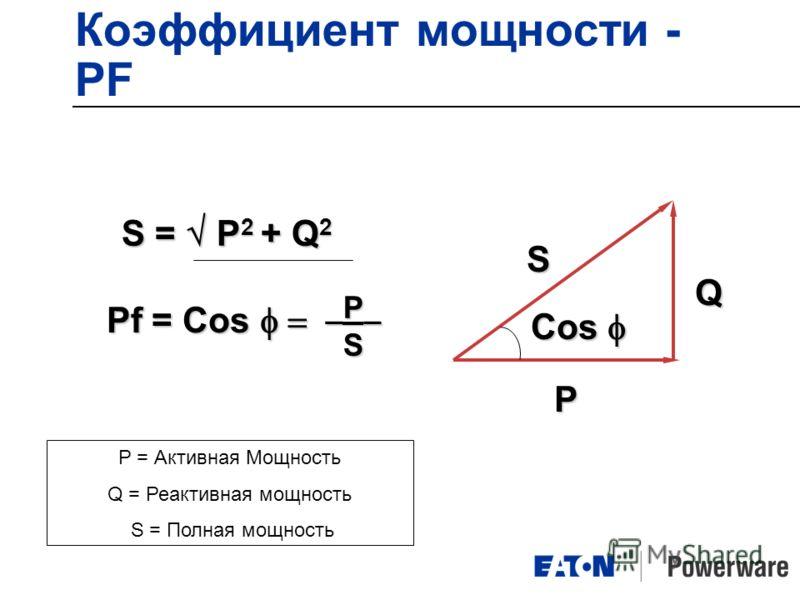 Коэффициент мощности - PF _P_ _P_ S P = Активная Мощность Q = Реактивная мощность S = Полная мощность S = P 2 + Q 2 Pf = Cos S P Cos Cos Q