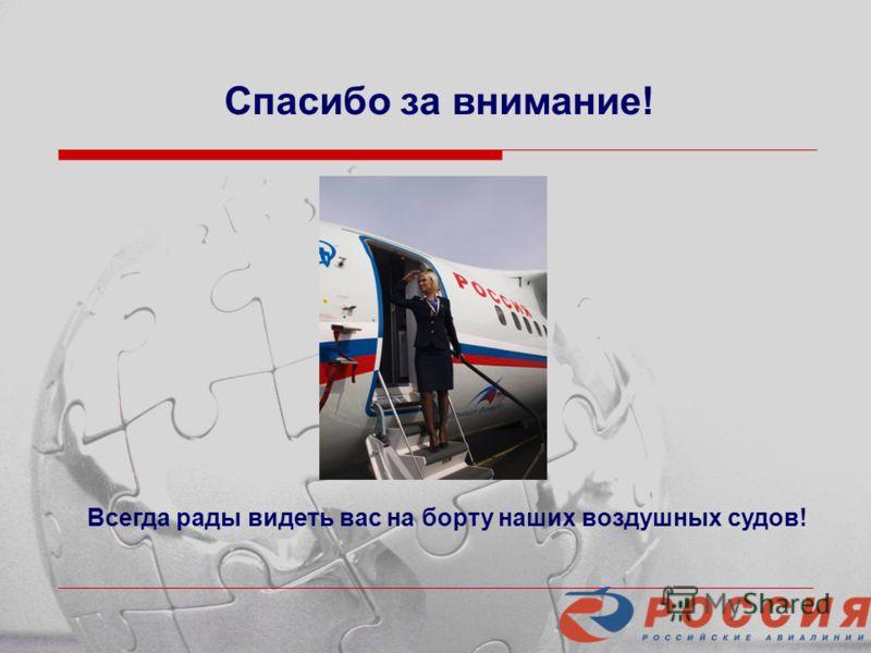 Спасибо за внимание! Всегда рады видеть вас на борту наших воздушных судов!