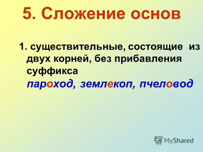 5. Сложение основ 1. существительные, состоящие из двух корней, без прибавления суффикса пароход, землекоп, пчеловод