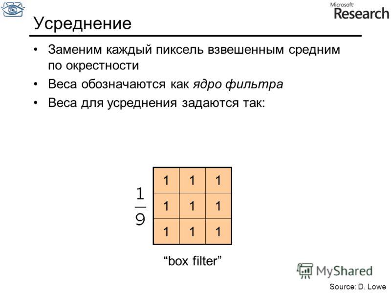 Заменим каждый пиксель взвешенным средним по окрестности Веса обозначаются как ядро фильтра Веса для усреднения задаются так: Усреднение 111 111 111 box filter Source: D. Lowe