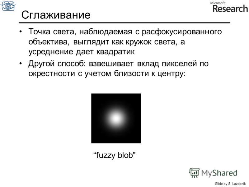 Сглаживание Точка света, наблюдаемая с расфокусированного объектива, выглядит как кружок света, а усреднение дает квадратик Другой способ: взвешивает вклад пикселей по окрестности с учетом близости к центру: fuzzy blob Slide by S. Lazebnik