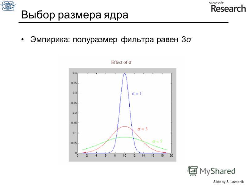 Выбор размера ядра Эмпирика: полуразмер фильтра равен 3σ Slide by S. Lazebnik