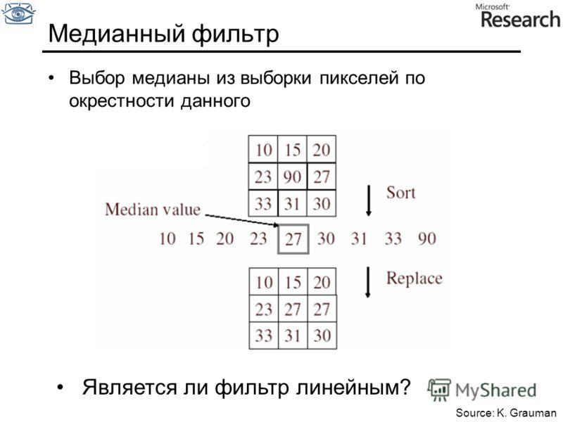Медианный фильтр Выбор медианы из выборки пикселей по окрестности данного Является ли фильтр линейным? Source: K. Grauman