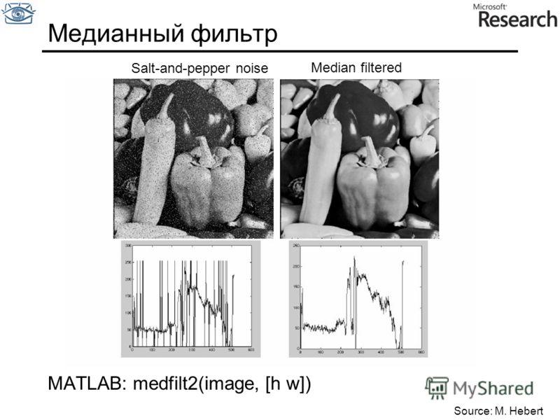 Медианный фильтр Salt-and-pepper noise Median filtered Source: M. Hebert MATLAB: medfilt2(image, [h w])