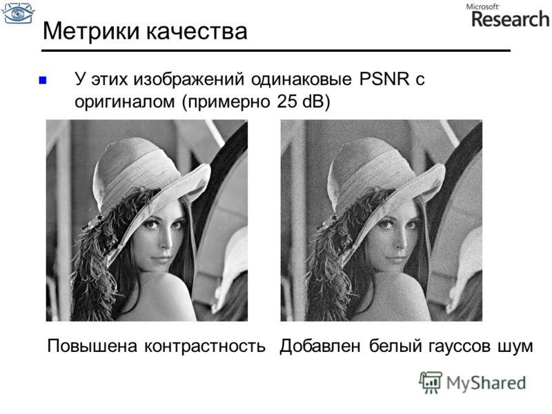 Метрики качества У этих изображений одинаковые PSNR с оригиналом (примерно 25 dB) Повышена контрастностьДобавлен белый гауссов шум