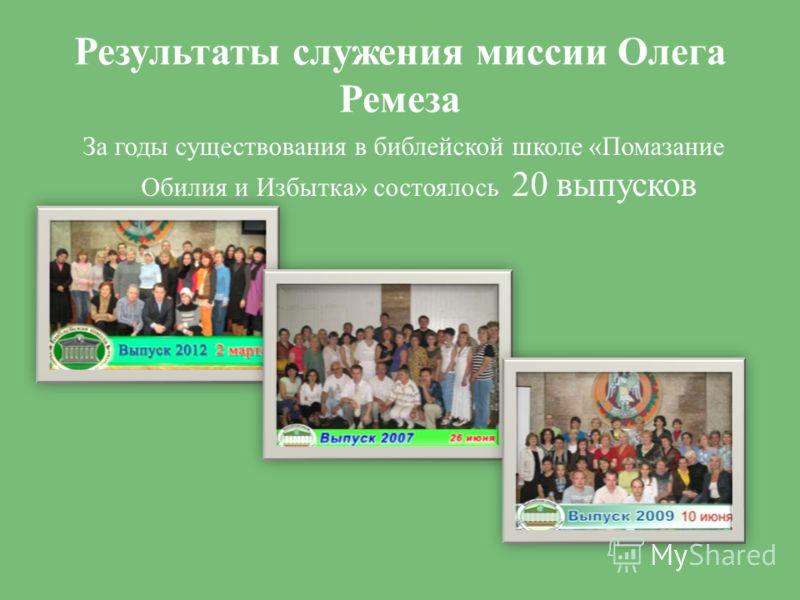 Результаты служения миссии Олега Ремеза За годы существования в библейской школе «Помазание Обилия и Избытка» состоялось 20 выпусков