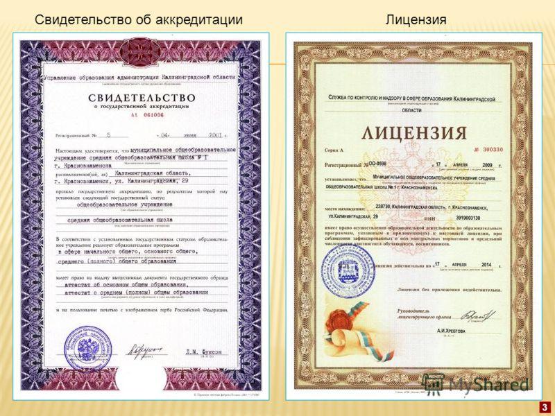 Свидетельство об аккредитацииЛицензия 3
