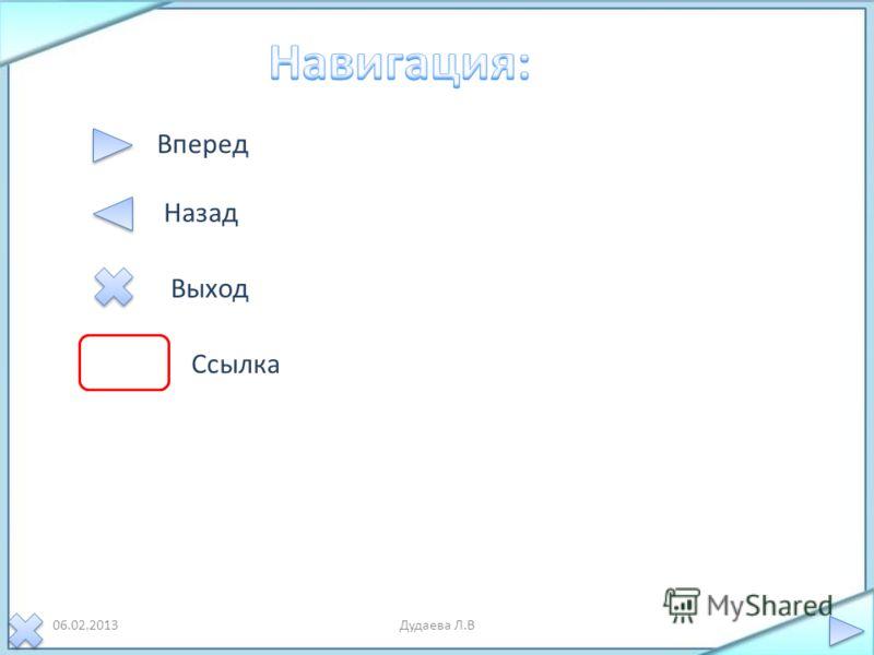 06.02.2013Дудаева Л.В Вперед Назад Выход Ссылка