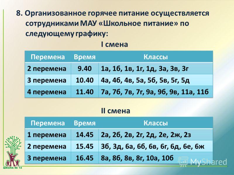 8. Организованное горячее питание осуществляется сотрудниками МАУ «Школьное питание» по следующему графику: I смена II смена