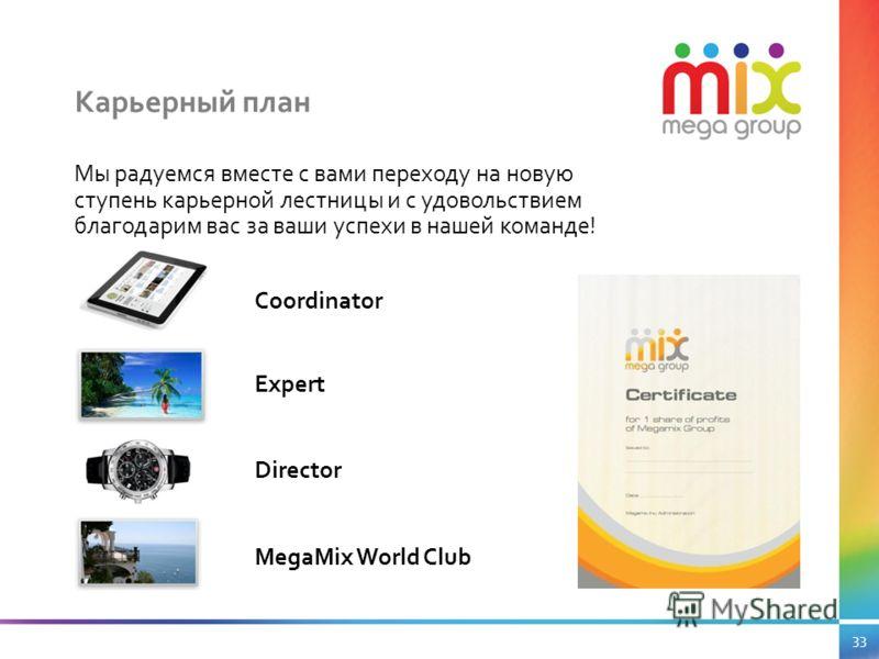 Мы радуемся вместе с вами переходу на новую ступень карьерной лестницы и с удовольствием благодарим вас за ваши успехи в нашей команде! Coordinator Expert Director MegaMix World Club Карьерный план 33