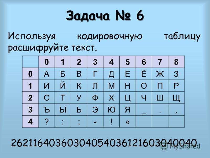 Задача 6 Используя кодировочную таблицу расшифруйте текст. 26211640360304054036121603040040 012345678 0АБВГДЕЁЖЗ 1ИЙКЛМНОПР 2СТУФХЦЧШЩ 3ЪЫЬЭЮЯ_., 4?:;-!«
