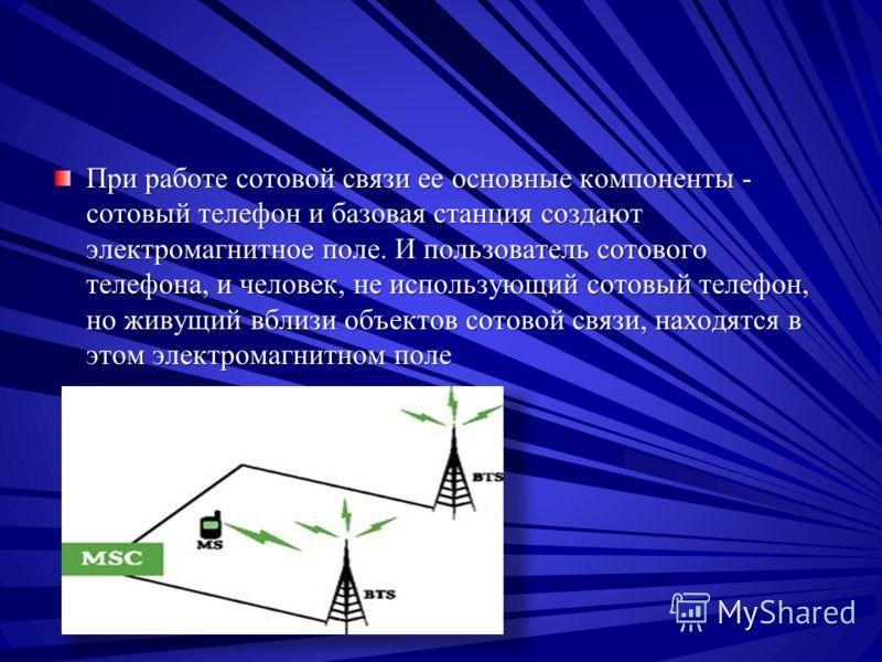 При работе сотовой связи ее основные компоненты - сотовый телефон и базовая станция создают электромагнитное поле. И пользователь сотового телефона, и человек, не использующий сотовый телефон, но живущий вблизи объектов сотовой связи, находятся в это