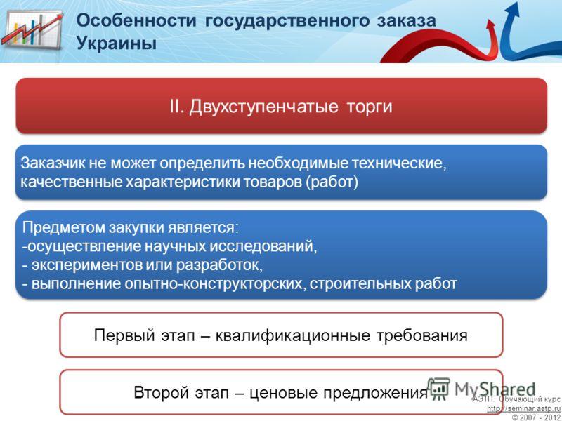 Особенности государственного заказа Украины II. Двухступенчатые торги Заказчик не может определить необходимые технические, качественные характеристики товаров (работ) Предметом закупки является: -осуществление научных исследований, - экспериментов и