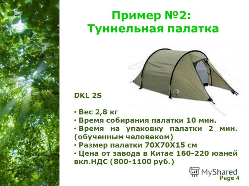 Free Powerpoint Templates Page 4 Пример 2: Туннельная палатка DKL 2S Вес 2,8 кг Время собирания палатки 10 мин. Время на упаковку палатки 2 мин. (обученным человеком) Размер палатки 70X70X15 см Цена от завода в Китае 160-220 юаней вкл.НДС (800-1100 р