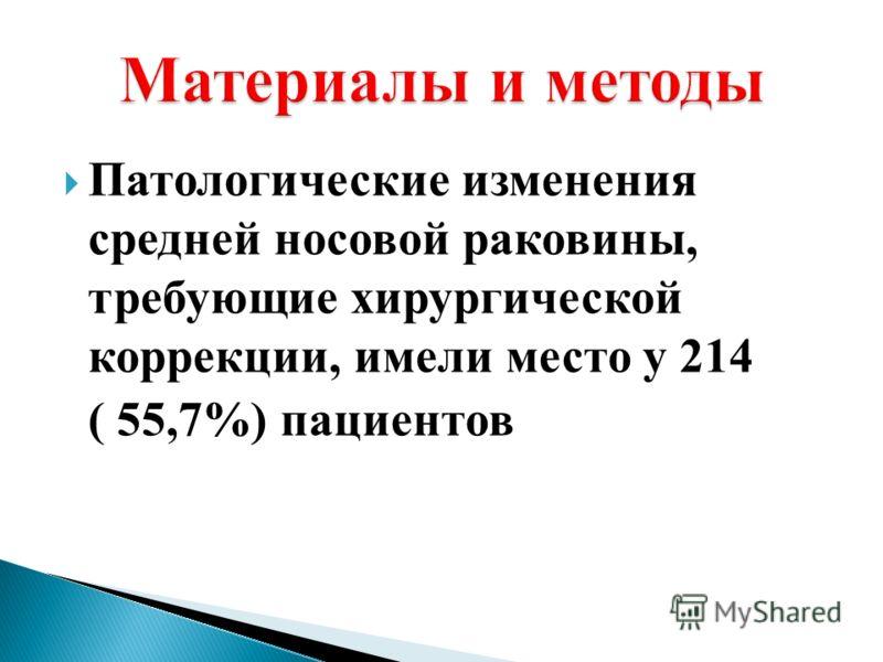 Патологические изменения средней носовой раковины, требующие хирургической коррекции, имели место у 214 ( 55,7%) пациентов