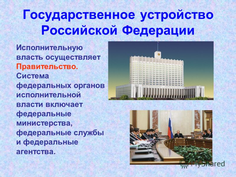 Государственное устройство Российской Федерации Исполнительную власть осуществляет Правительство. Система федеральных органов исполнительной власти включает федеральные министерства, федеральные службы и федеральные агентства.