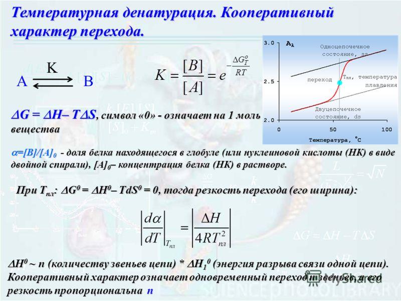 Температурная денатурация. Кооперативный характер перехода. G = H– T S, символ «0» - означает на 1 моль вещества G = H– T S, символ «0» - означает на 1 моль вещества АB K =[B]/[A] 0 - доля белка находящегося в глобуле (или нуклеиновой кислоты (НК) в