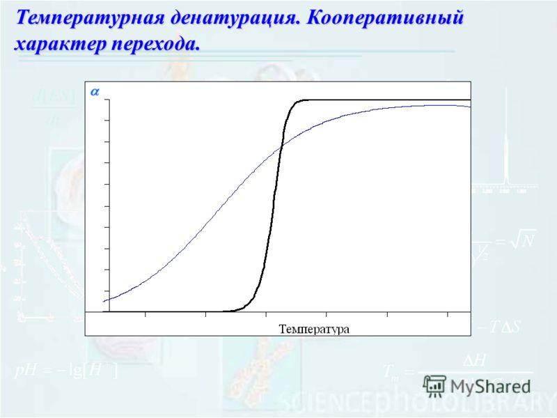 Температурная денатурация. Кооперативный характер перехода.