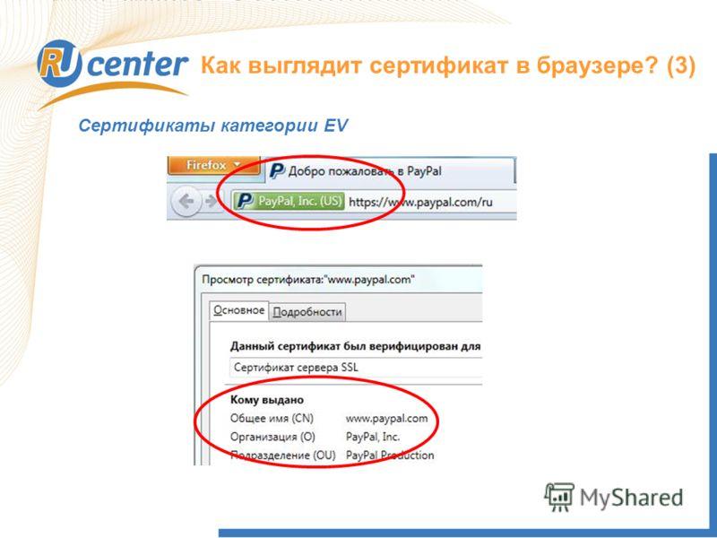 Как выглядит сертификат в браузере? (3) Сертификаты категории EV