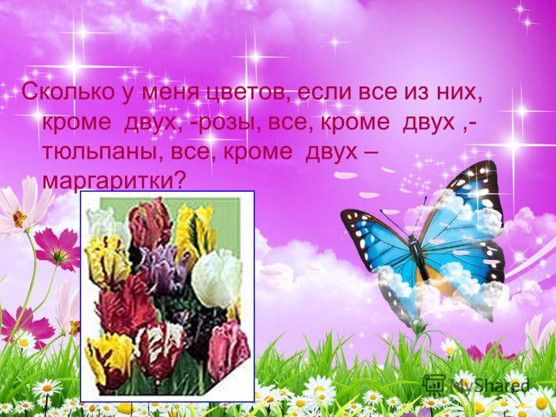 Сколько у меня цветов, если все из них, кроме двух, -розы, все, кроме двух,- тюльпаны, все, кроме двух – маргаритки?