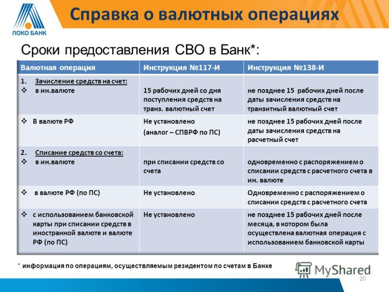 Справка о валютных операциях Сроки предоставления СВО в Банк*: * информация по операциям, осуществляемым резидентом по счетам в Банке 20