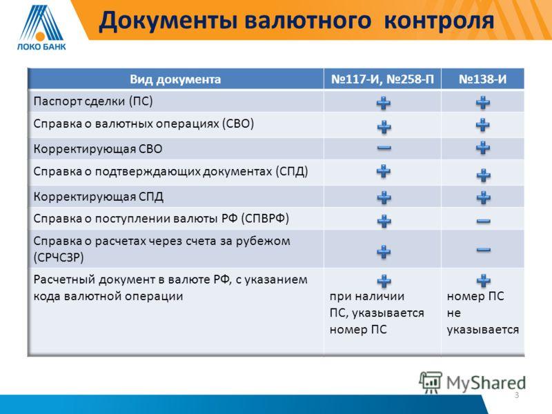 Документы валютного контроля 3